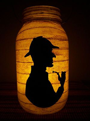 New Grungy Primitive Sherlock Holmes Lantern Candle Holder Halloween Party Gift