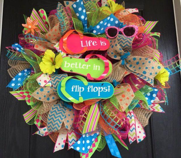 Summer deco mesh wreath, flip-flop mesh wreath, Flip-flop deco mesh wreath, flip-flop wreath, summer wreath, front door wreath