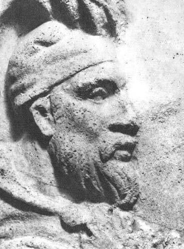 Decebalus, the Dacian king, rock carving on Trajans Column