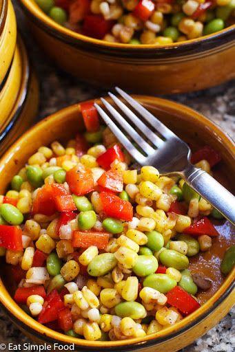 Corn & Edamame Succotash With Fresh Corn, Frozen Shelled Edamame, Red Pepper, Purple Onion, Olive Oil, Balsamic Vinegar, Sea Salt, Black Pepper