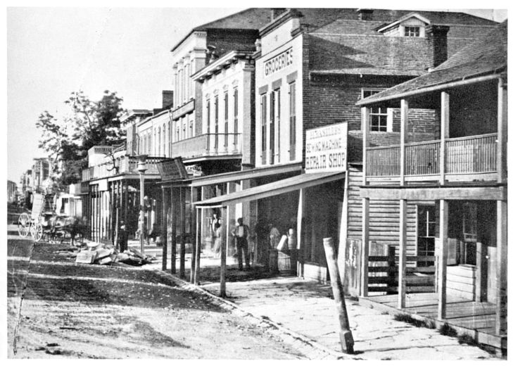 ST. CHARLES, ST. CHARLES COUNTY, ca 1870. Founded under French rule about 1769 by Louis Blanchette le Chasseur, a native of Quebec, Canada, St. Charles was originally known as Les Petites Cotes.  From 1784 to 1800, the village was under Spanish authority, as the seat of government for Spanish possessions north of the Missouri River.  The Spanish referred to the village as San Fernando and later as San Carlos del Missouri.  [SHS of MO-Columbia Photo Collection #2002.0146]