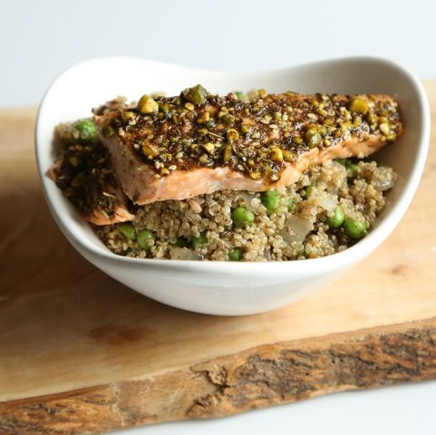 This recipe combines the popular Eastern Mediterranean condiment, Za'atar with pistachios and olive oil to create a pesto-like topping for wild salmon that's served over a fresh pea and quinoa pilaf.  Chef Set Meal Kit includes: Spice Blends, Garnish, and Whole Grain. Available for purchase at www.chefsetmeals.com