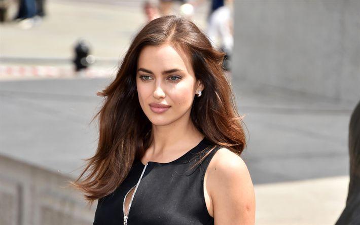 Download wallpapers Irina Shayk, 4k, portrait, black dress, fashion model, Russian supermodel