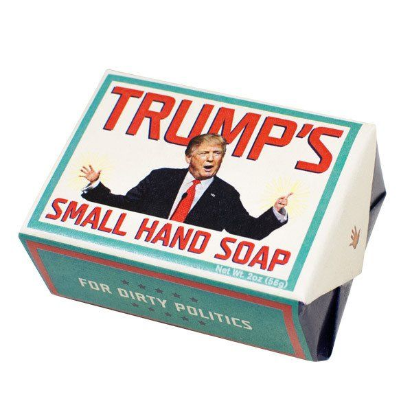 Donald Trump is now President of the United States and in the grand tradition of American politics, we have this great Presidential gag gift plus it's incredibly the best smelling soap with Trump on i