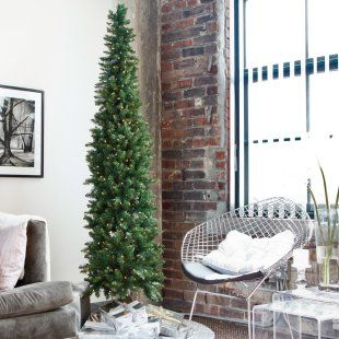 Classic Pine Pre-lit Pencil Christmas Tree - Artificial Christmas Trees at Christmas Trees Galore