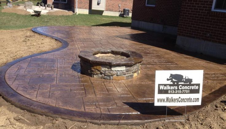 stamped concrete patio with fire pit designs | See More Steel Fire Pits toward the bottom of this page.