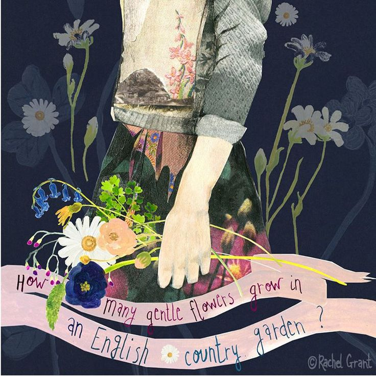 English Country Garden, floral illustration with collage by artist Rachel Grant.