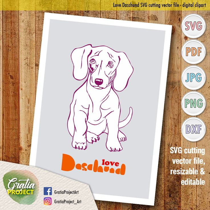 Excited to share the latest addition to my #etsy shop: Love Daschund SVG Cutting vector file - digital clip art