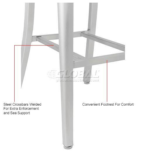 Aluminum Bar Stool - 4 Slat Back - Silver