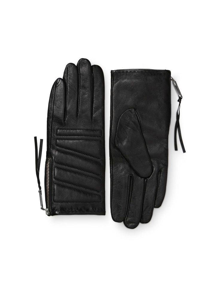 Vasarely gloves-Women's biker-inspired glove in leather nappa. Features side zip fastening and padded details with decorative stitching. Fully lined.