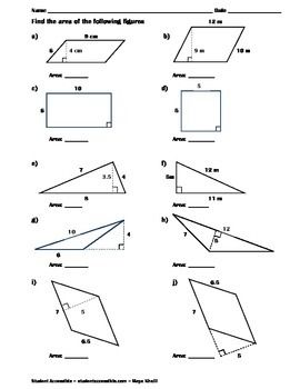 finding the area of polygons worksheet ii triangles the o 39 jays and squares. Black Bedroom Furniture Sets. Home Design Ideas