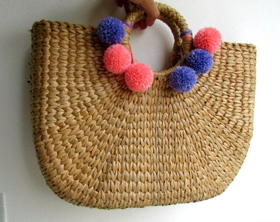 4 Bright colored yarn pom poms. Handmade wool pompoms Yarn