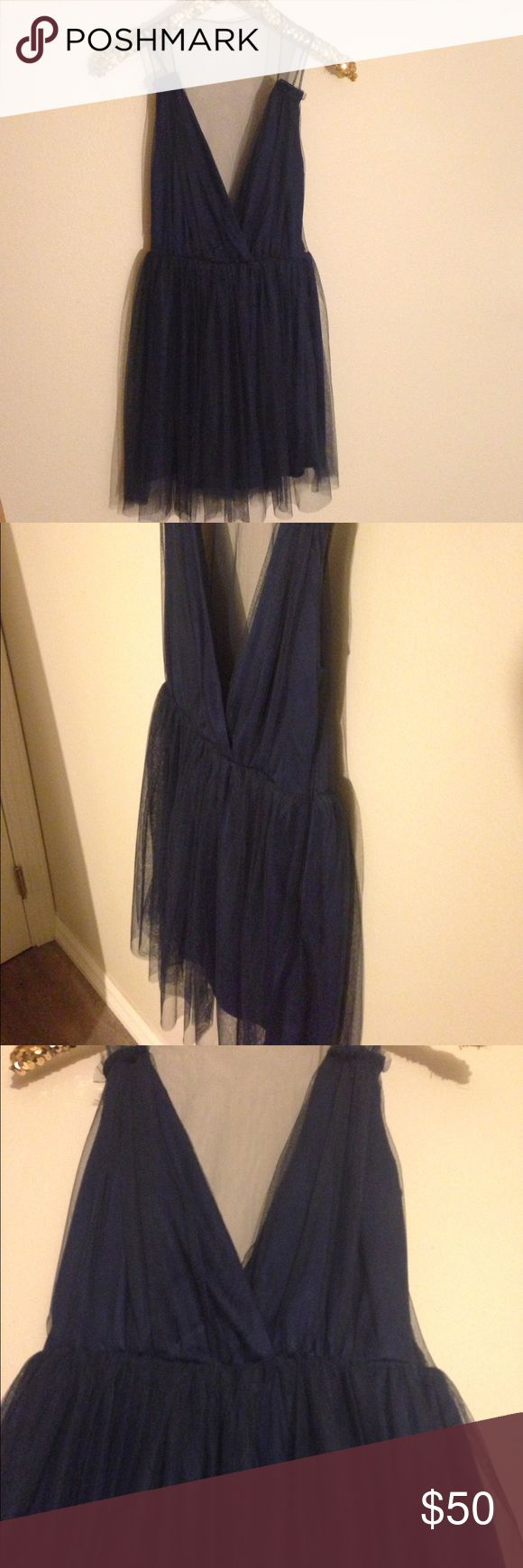 Asos petite Navy tulle dress. NWT size 4 Adorable navy dress. Back is sheer from the waist up. Originally $85 ASOS Dresses