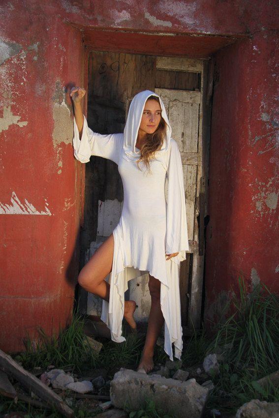MAGICIAN DRESS IVORY, Versatile Cowl Neck used like Goddess Hood or Off the Showlder, Festival Gypsy Fairy, Prairie Dress. $80.00, via Etsy.