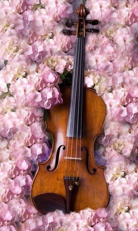 Violin in flowers