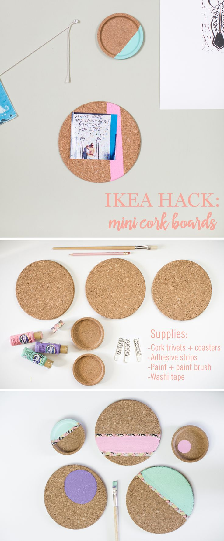this diy turns coasters into mini cork boards the ikea hack requires the following supplies. Black Bedroom Furniture Sets. Home Design Ideas