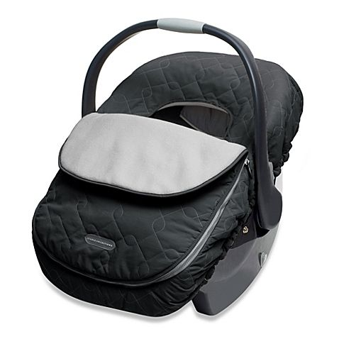 Car seat cover has an elasticized outer band that fits over infant carriers to keep your baby nice and warm, and the removable top provides temperature control. It's made of weather-resistant nylon, and the interior is a nice, soft fleece.