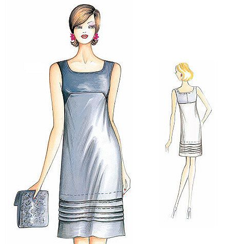 Marfy Dress - F2764; A-line dress with pleat motif that descends to the hemline.