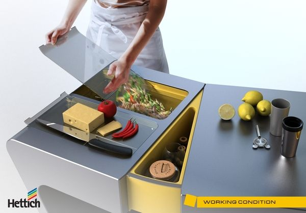 Flexible Kitchen Table (Olga Kalugina): Design Tables, Accordion Folding, Kitchen Tables, Kitchens Tables, Folding Kitchens, Basements Kitchens, Kitchens Products, Furniture, Small Meals