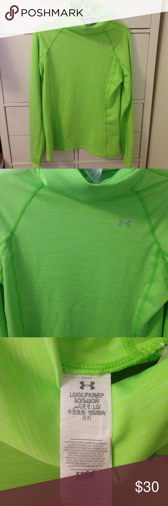 Under Armour Cold Gear Compression Top neon green Under Armour Cold Gear Women's Compression top.  Size Large.  Neon green color. New with tags. Under Armour Tops Sweatshirts & Hoodies