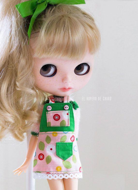 Bib kombinézy šaty a svetr pro Blythe panenka bib sukni