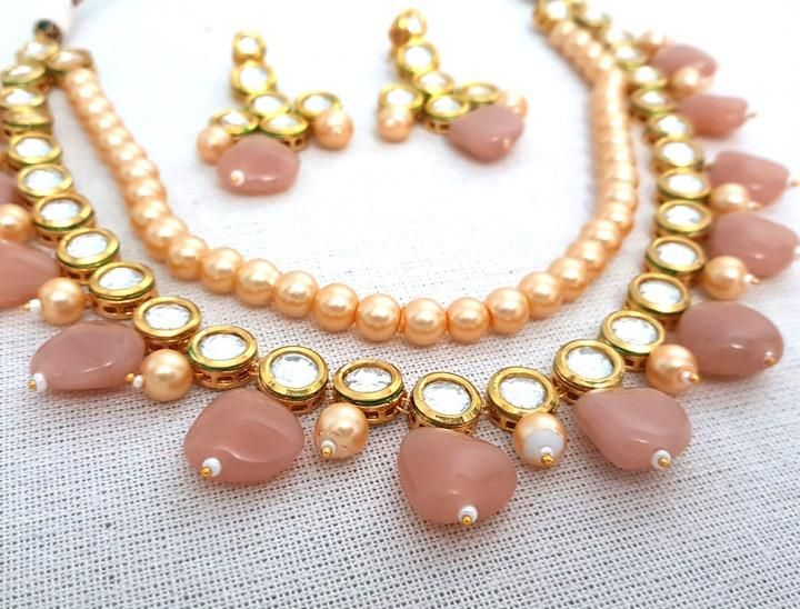 Peach and White Vintage Necklace SetPeach and White Necklace /& EarringsPeach Vintage Necklace SetWomen/'s Peach Necklace and Earrings Set