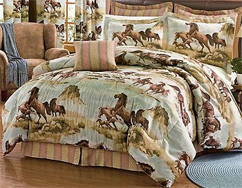 Kentucky Horses Bedding Set - 4pc Ponies Comforter Set - Full Size