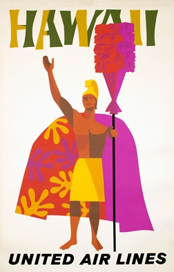 Kamehameha the Great, the first King of Hawaii. This beautifully printed poster, offset with selective silkscreening, is as colorful as the islands themselves.