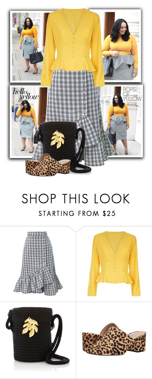"""""""Front Peplum Blouse"""" by tasha1973 ❤ liked on Polyvore featuring WithChic, Steve Madden, PopsOfYellow and NYFWYellow"""