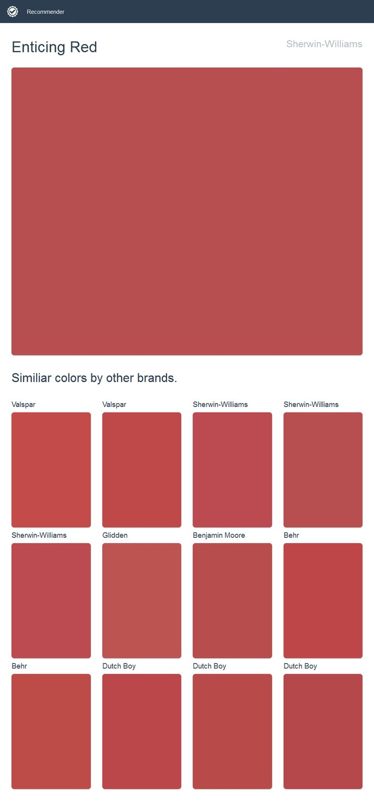 Enticing Red, Sherwin Williams.