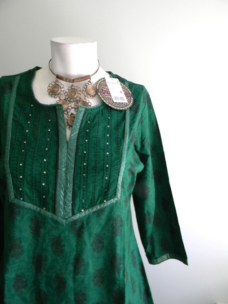 vintage. DEADSTOCK Emerald Green Cotton Indian Tunic / Handmade Long Tunic / S M. $48.25, via Etsy.