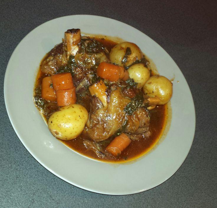 Slow cooked lamb shanks & veggies