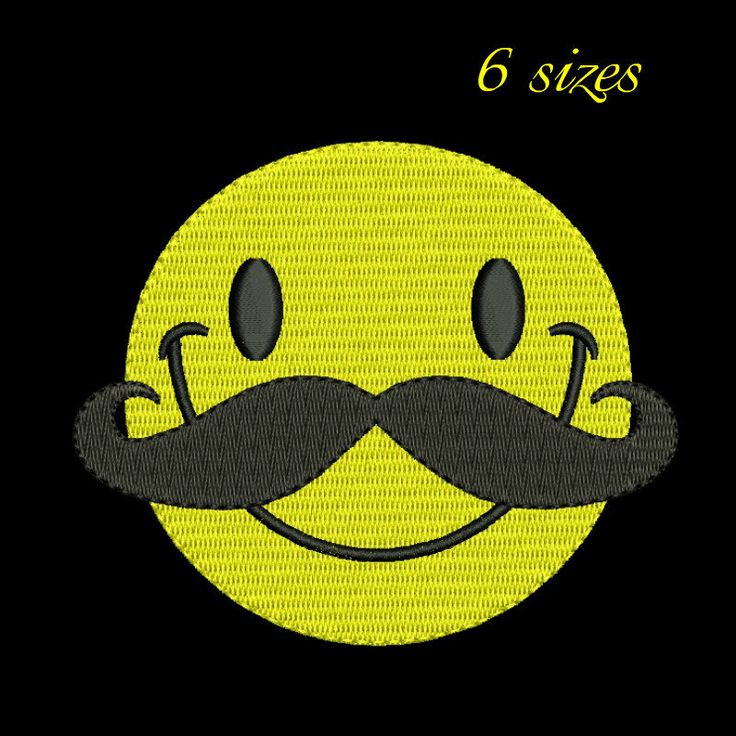 Mustache smiley embroidery design,mustache embroidery design, face,emoticon,Christmas smiley,funny,smile by GretaembroideryShop on Etsy