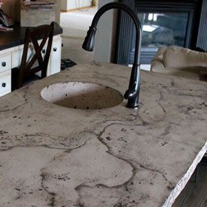How to Create a Veined kitchen Island Concrete Counter. Creating a kitchen space that seamlessly blends with the rest of your home and a great addition