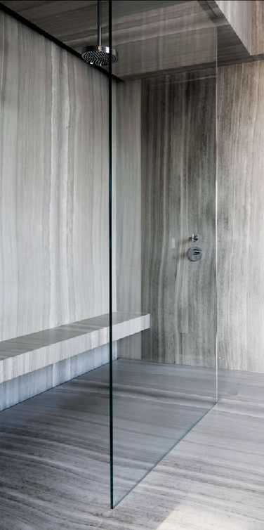 linear marble; grains run vertically. Note linear? drain in shower??