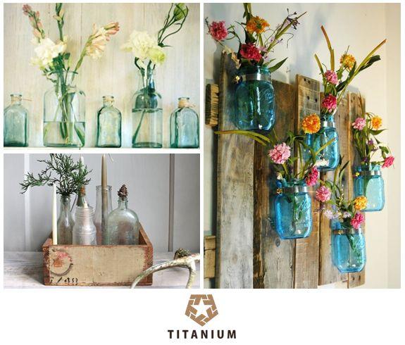 Decoração reutilizando garrafas de vidro, no blog: http://www.titaniumjeans.com.br/blog/index.php?id=159