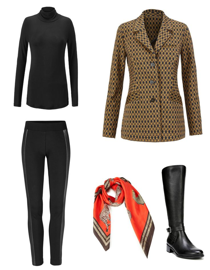 Equestrian Chic: The cabi Standout Jacket styled with the cabi Bexley Legging and Layer Turtleneck, accessoried with the cabi Deidre scarf and Naturalizer Winnie riding boots