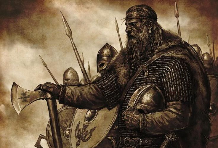 Viking painting. Viking berserks are described as terrible in the Icelandic old Sagas. They are supposed to have trembled, clapping their teeth and howling. When attacking they would bite their shields, feeling no fear or pain, the only thing in their mind was to destroy the enemy.