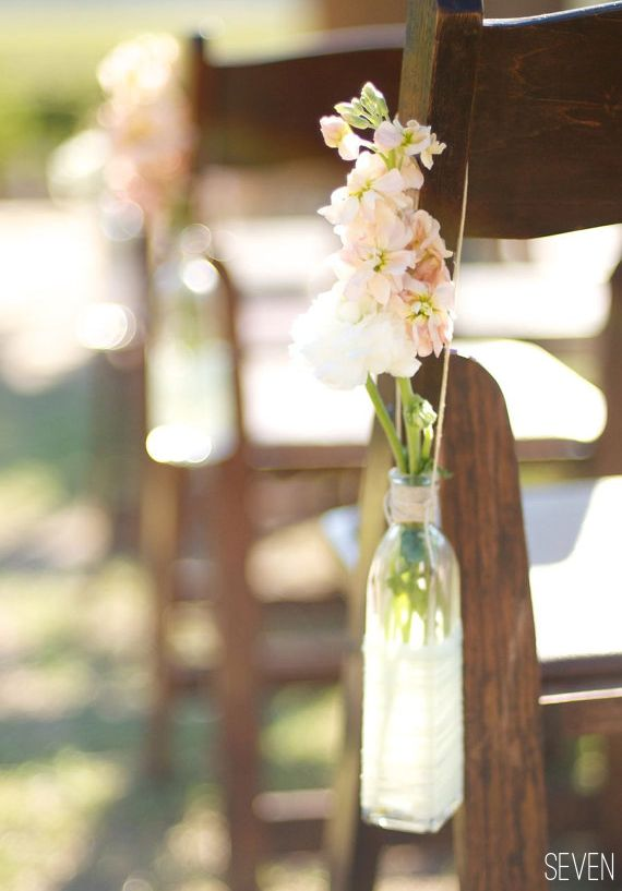 Aisle Chair Decor: Close Up Of How To Hang. {ceremony} Use Flowers And  Recycled Bottles As Aisle Markers. Tie To Chairs Or Sit Them On The Ground  Close By.