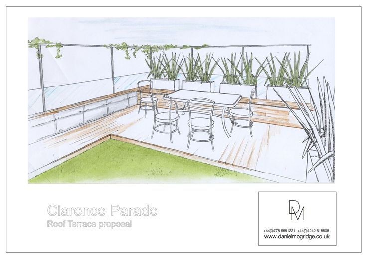 A concept sketch of the roof terrace