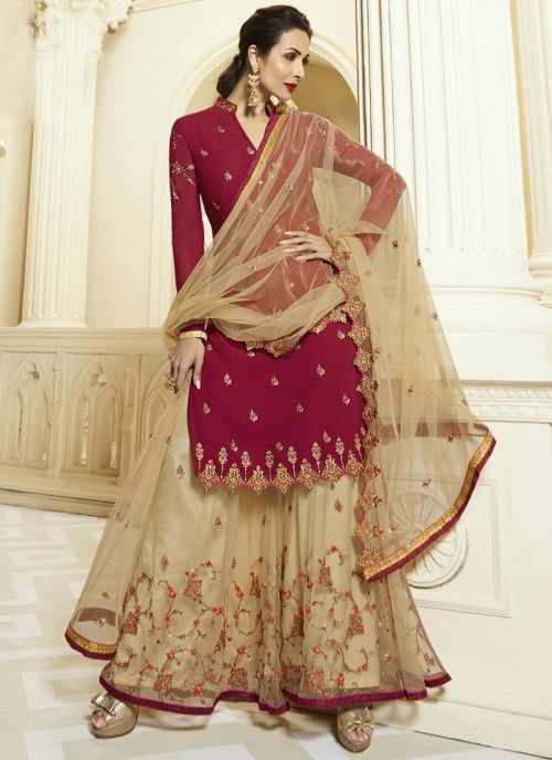 6392312e27 Bollywood diva malaika arora style red partywear sharara suit online which  is crafted from georgette fabric with exclusive zari embroidery and diamond  work.