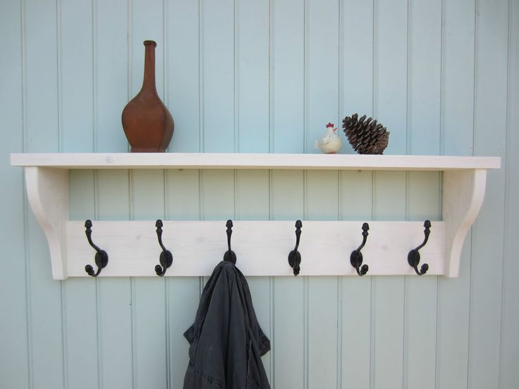 Good Shabby Chic White Washed Hat Coat Rack Shelf With Acorn Hangers / AW