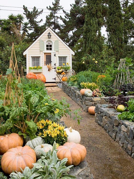 Fall garden ~ love the stone walls and garden house