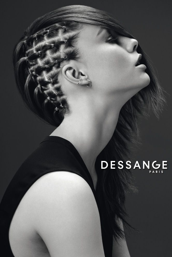Half-hawk updo: The mix of a punk style and sophistication. An asymmetrical hairstyle in which the side of the head is worked in a checkerboard pattern, while ultra-feminine, layered lengths are left jagged. #DESSANGE #Collection #FallWinter #LightOfShadows