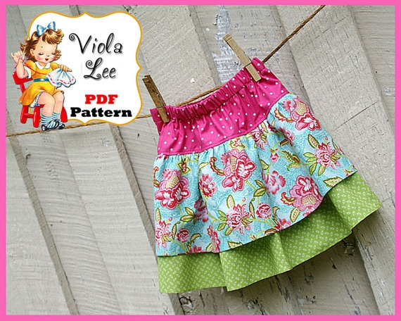 PDF Sewing Pattern Tutorial.....Mary Lee Ruffled Boutique Twirl Skirt . Infant 6mo to size girl's 10.
