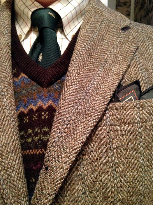 Vintage 3-2 roll tweed jacket for Van Boven of Detroit/Ann Arbor, L.L. Bean tattersall shirt and lambswool sweater vest, Pride of England emblematic tie, unbranded silk pocket square.