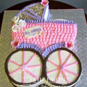 Gâteaux pour Baby Shower : le gâteau landau rose