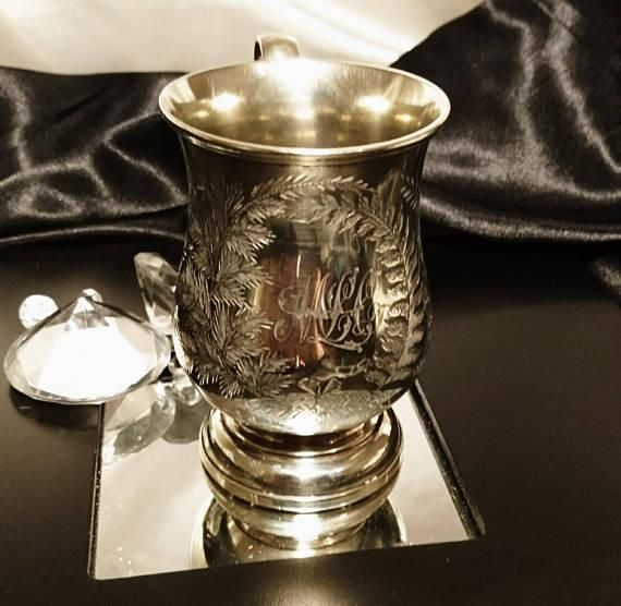 Victorian silver plated cup, antique silver plated mug, engraved foliate