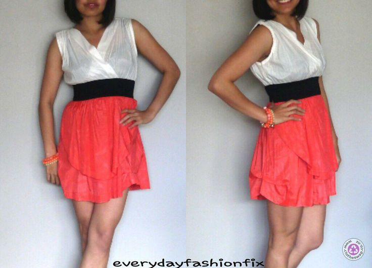 Clotheswap - Dress - white, black and coral (size 8-10)