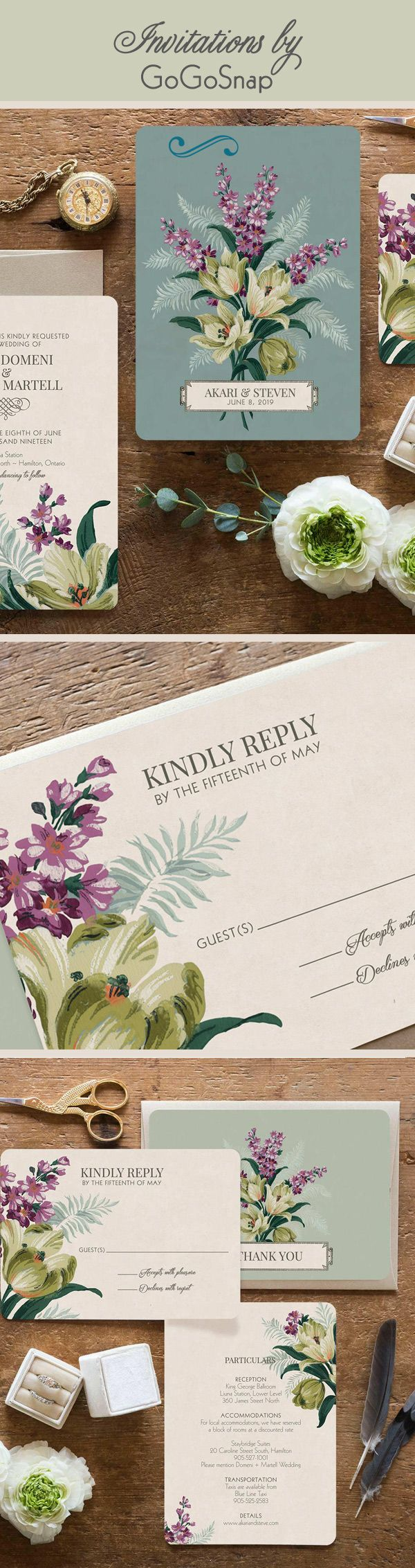 Vintage Floral Wedding Invitationsby GoGoSnap So painterly